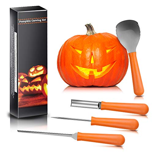 Halloween Pumpkin Carving Kit, BIG HOUSE Professional Jack-O-Lanterns Stainless Steel Carving Tools Set with 10Pcs Carving Templates, Scraper, Saw, Drill and Etching(4 Pieces, Yellow) by BIG HOUSE (Image #6)
