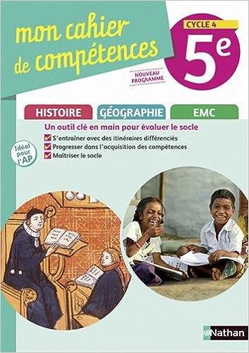 Amazon Fr Histoire Geographie Emc 5e Cycle 4 Mon Cahier De