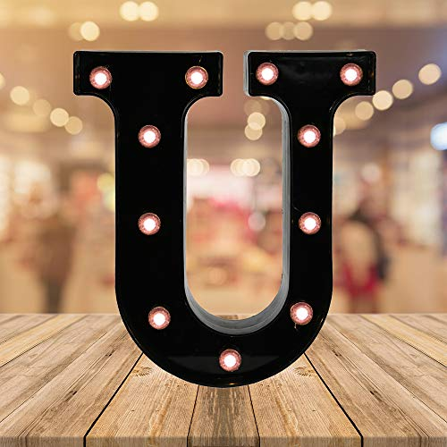 Light up Letters LED Letter Black Alphabet Letter Night Lights for Home Bar Festival Birthday Party Wedding Decorative (Black Letter U)