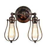 Vintage Wall Lights Adjustable Socket Industrial Lighting Rustic Wire Metal Cage Sconces Indoor Home Wall Lamp Retro Light Fixture (2-Light Lamp Base Painted with Oil Rubbed Bronze)