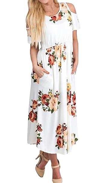 Amazon.com: ofenbuy para mujer Floral Print frío hombro alta ...