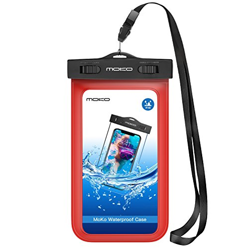 MoKo Waterproof Phone Pouch, Underwater Cellphone Case Dry Bag with Lanyard Armband Compatible with iPhone 11/11 Pro Max, X/Xs/Xr/Xs Max, 8/7/6 Plus, Samsung S10/S9/S8 Plus, S10e, A10E, Note 10, Red