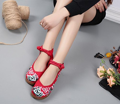 Mujeres De El Moda Gamuza Estilo Casual Mn Suela Tendón Cómodo En Zapatos Zapatos Rojo Aumento Bordado Étnico xCqXz