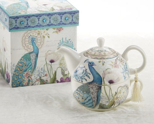 Delton Products Peacock Porcelain Tea for One in Gift Box