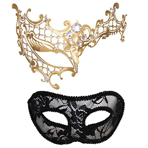 Masquerade Mask for Couples Women Metal Rhinestone Venetian Pretty Party Evening Prom Ball Mask Luxury Metal Mask with Free Lace Mask 2 Pack (Half Face Golden) -