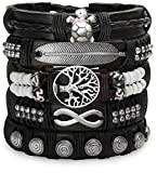 Set Of Leather Bracelets For Men Women - Braided Hippie Wrist Wraps - Native Hill Tribe Cuffs, Adjustable (Metal)