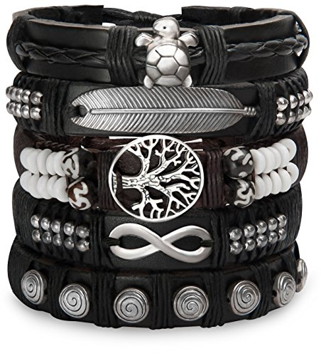 Set Of Leather Bracelets For Men Women - Braided Hippie Wrist Wraps - Native Hill Tribe Cuffs, Adjustable (Metal)