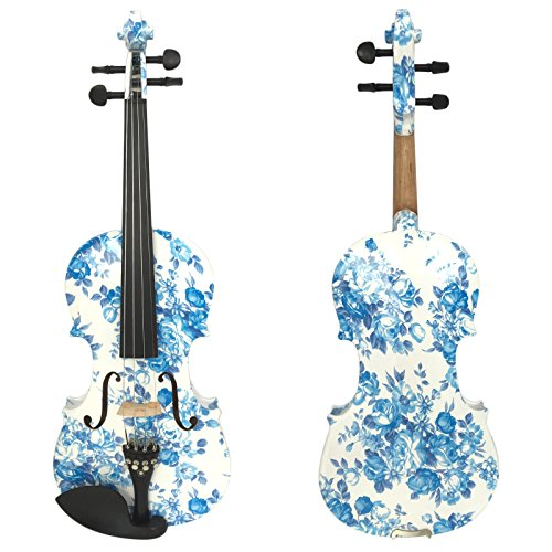Kinglos 4/4 White Blue Flower Colored Ebony Fitted Solid Wood Violin Kit with Case, Shoulder Rest, Bow, Rosin, Extra Bridge and Strings Full Size (YZ1201)