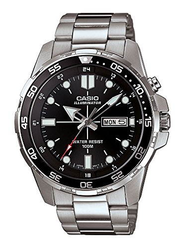 Casio MTD 1079D 1A Black Stainless Steel