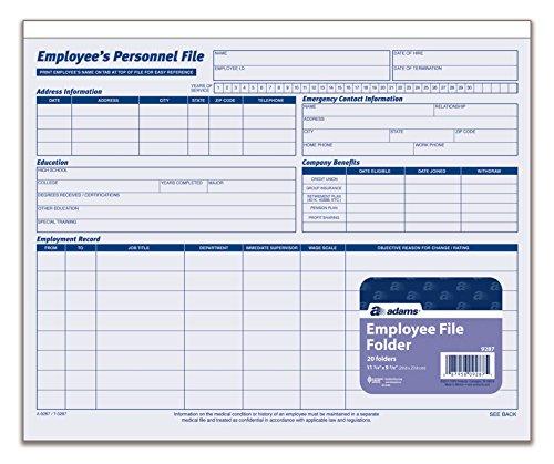 adams employees personnel file folder  heavy card stock