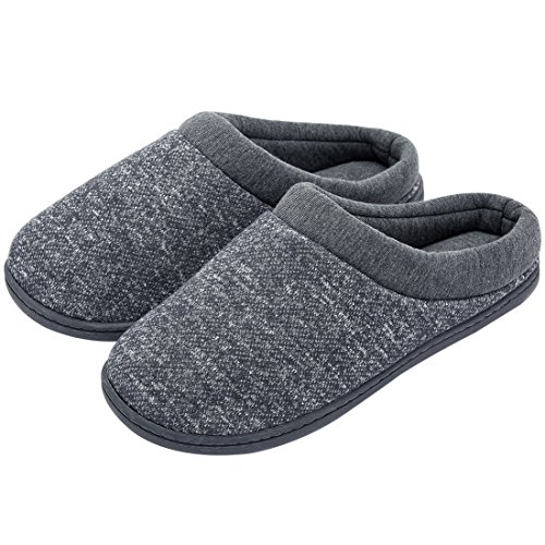 Women's Comfort Slip on Memory Foam French Terry Lining Indoor Clog House Slippers (Medium/7-8 B(M) US, Light Gray)
