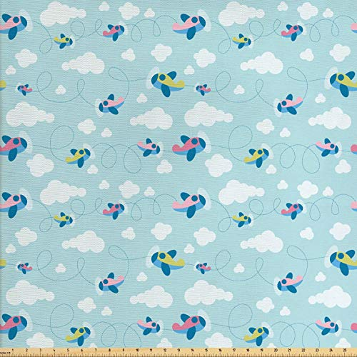 Ambesonne Plane Fabric by The Yard, Cartoon Style Sky with Airplanes and Clouds Swirls Scrapbook Design Pattern, Decorative Fabric for Upholstery and Home Accents, 1 Yard, Baby Blue White Pink