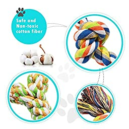 Baby-Run Dog Toys 6 Pack Gift Set, Puppy Pet Cotton Rope Toys Durable Chew Toy Set for Small and Medium Dogs