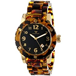 Viceroy Men's 47666-55 Carey Yellow Gold Ion-Plated Stainless Steel Leopard Print Date Watch