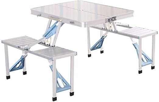 YZjk Kit de Mesa y Silla Plegable de Aluminio portátil al Aire ...