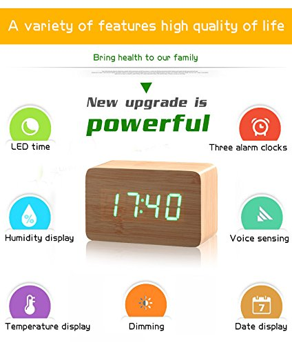 Amazon.com: Wood Bamboo LED Alarm Clock Reloj Despertador Modern Temperature Desk Clock LED Electronic Desktop Digital Table Clock: Home & Kitchen