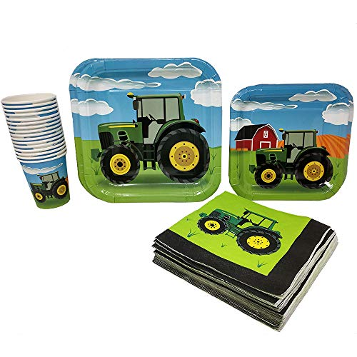 Blue Orchards Tractor Party Supplies Pack (65+ Pieces for 16 Guests!), Tractor Birthday Kit, Tractor Plates, Tableware (John Deer Birthday)
