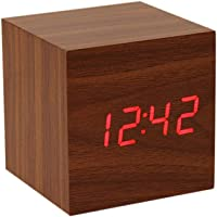 Digital Alarm Clock, with Wooden Electronic LED Time Display, 3 Alarm, 6.35 cm Cubic Small Mini Wood Made Electric…