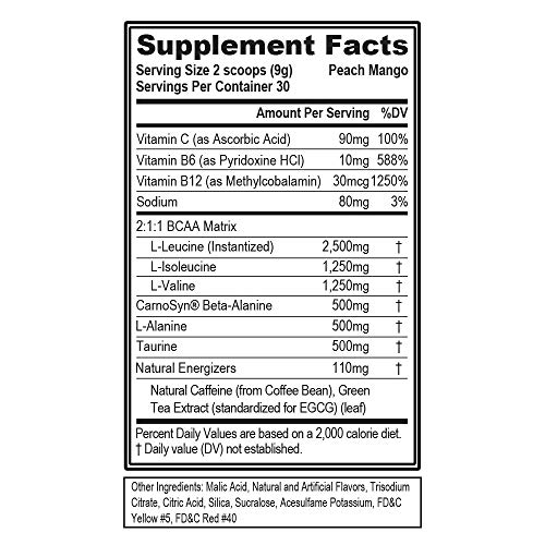 Evlution Nutrition BCAA Energy - Essential BCAA Amino Acids, Vitamin C, Natural Energizers for Performance, Immune Support, Muscle Building, Recovery, B Vitamins, Pre Workout, 30 Serve, Peach Mango