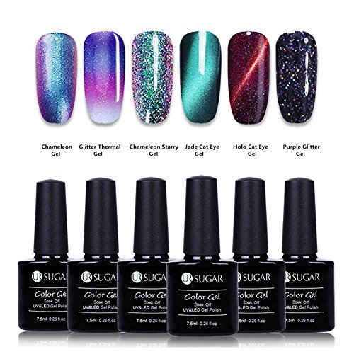 UR SUGAR Gel Nail Polish Set, Cat Eyes Gel, Color Changing Gel, Starry Glitter Gel, Chameleon Gel, Magnetic Jade Gel,6 Bottles in 1 Set Nail Art Starters Kit, Requies UV LED Cured -