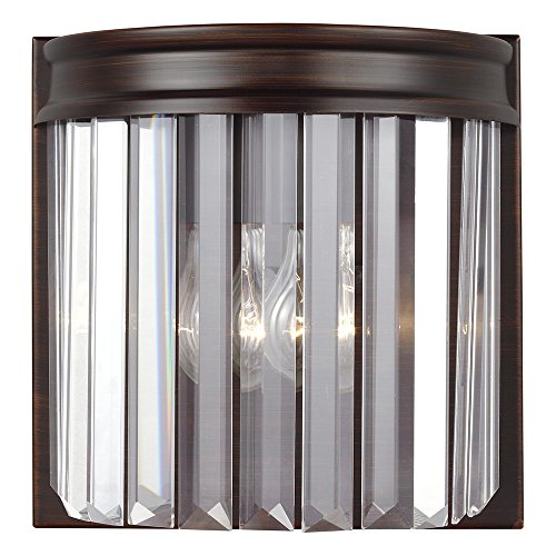 (Sea Gull Lighting 4414001-710 Carondelet One-Light Bath or Wall Sconce with Clear Beveled Glass Panels, Burnt Sienna Finish)