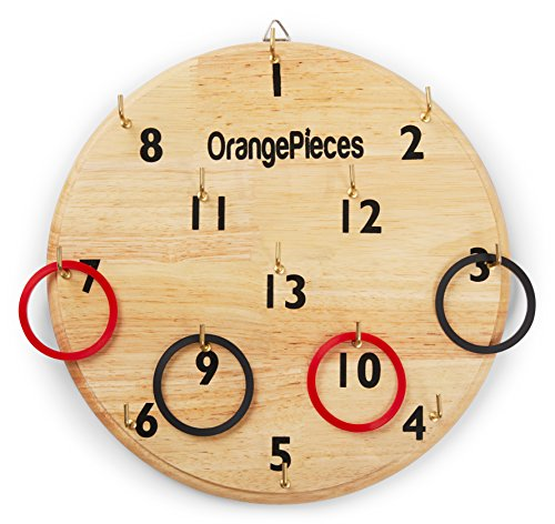 Orange Pieces Hookey Ring Toss Game - Play At Home Indoor Outdoor Hookey Board Games For Family - Sturdy And Safe Ready To Use Wall Hang Board Game For Both Adults And Kids Hours Of Fun Outdoor Games