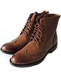 NEW DELLI ALDO MENS HIGH ANKLE BOOTS LEATHER LINED LACE UP OXFORDS WING TIP ZIPPERED DRESS SHOES M828 /BROWN