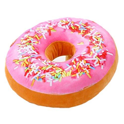 Nunubee Zierkissen Dekorative Donuts Kopfkissen PP Baumwolle Sofakissen Dekokissen Schaumstoff Gefüllt Spielzeug, Rosa