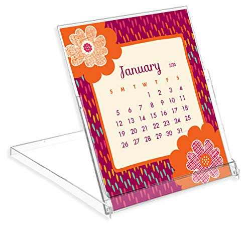 Night Owl Paper Goods Flora Fauna 2020 Desk Calendar, White