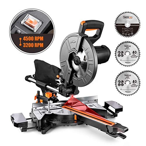 Miter Saw, TACKLIFE 15 Amp 10-Inch Sliding Compound Miter Saw with 3 Blades, Double Speed (4500 RPM & 3200 RPM), Bevel Cut (0°-45°) with Laser, Extension Table, Chip Bag, Iron Blade Guard – EMS01A