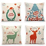TOOL GADGET 4-Pack Merry Christmas Deers Pillow Covers, Super Cute Christmas Gifts, Snowman Deers Christmas Tree, Sofa Throw Pillow Case Cushion Cover 18x18, Cotton Linen