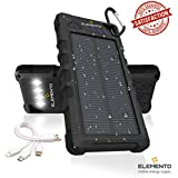 ELEMENTO Solar Charger Portable 16000mAh -Highly Durable Waterproof Power Bank 2 USB Ports For iPhone iPad Samsung HTC LED Flashlight for Camping Outdoor Travel External Battery Pack w/2 Free Bonuses