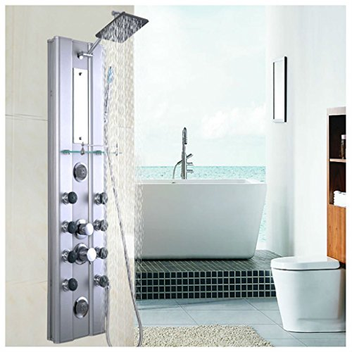 "46"" Bathroom Aluminum Shower Panel Thermostatic Tower w/ 10 Massage Jets"