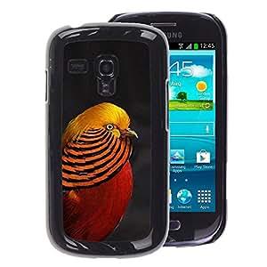 A-type Arte & diseño plástico duro Fundas Cover Cubre Hard Case Cover para Samsung Galaxy S3 MINI 8190 (NOT S3) (Tropical Bird Beautiful Gold Red Lines)