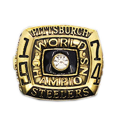 Gloral HIF Mens Pittsburgh Steelers Super Bowl 1974 Championship Replica Ring Size 11 Gold Without Box