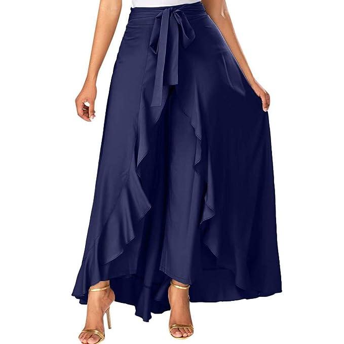 Mujer Pantalones Largas Ruffle Falda Color Solido Pantalones ...