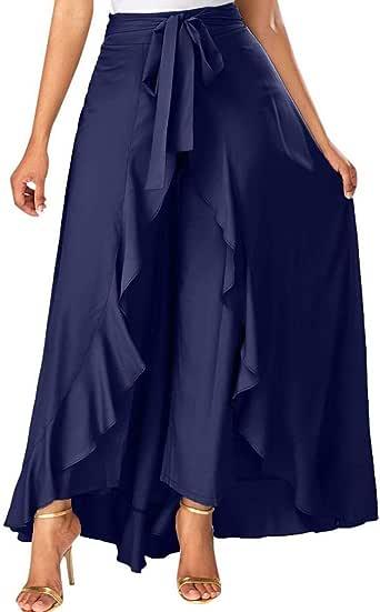 Mujer Pantalones Largas Ruffle Falda Color Solido Pantalones de ...