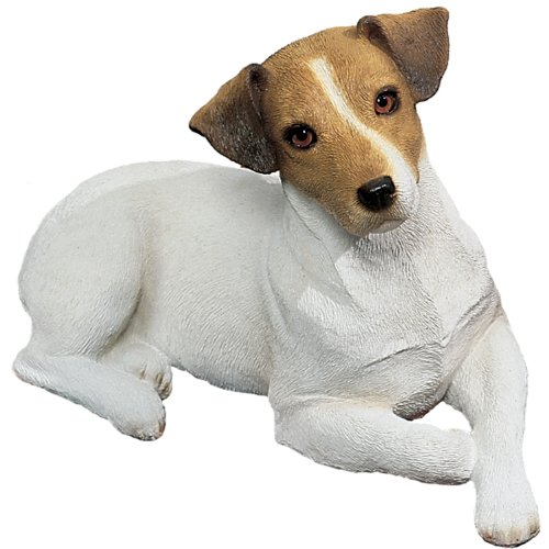- Sandicast Original Size Brown and White Jack Russell Terrier Sculpture, Lying