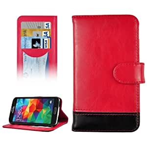 color 2 Series-Funda Genuine Leather Case Cover con Credit & Holder bolsillos internos para Samsung Galaxy S5 G900 Red) (Red) (Black