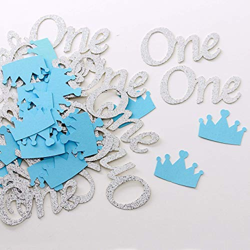 (Boy First Birthday Party Confetti. Glitter Cake Topper. Boys Birthday Decorations. Silver and Blue ONE and Crown Confetti. Silver Party Decorations, 24 PCS ONE and 24 PCS Blue)