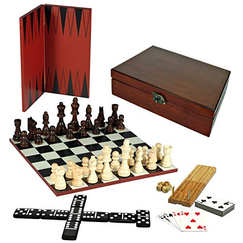 Games 7-Games-in-1 Combination Game Set - Chess, Checkers, Backgammon, Cribbage, Dominoes, Cards & Dice ()