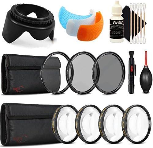 Dust Blower UV CPL ND Lens Pen Tulip Lens Hood Flash Soft-Light Cover 3pc Cleaning Kit 58mm Macro Kit