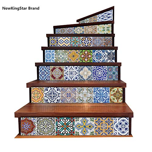 NewKingStar Backsplash Tiles Stickers Waterproof Tile Decals for Bathroom Kitchen Tile Stair Decals Stair Stickers Wallpaper Wall Tiles Removable Stickers Talavera Tile Stickers Decals 18x100cmx6PCS