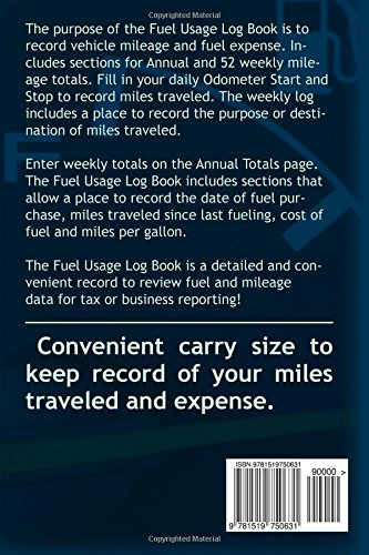 fuel usage log book keep record of fuel and mileage useage in a
