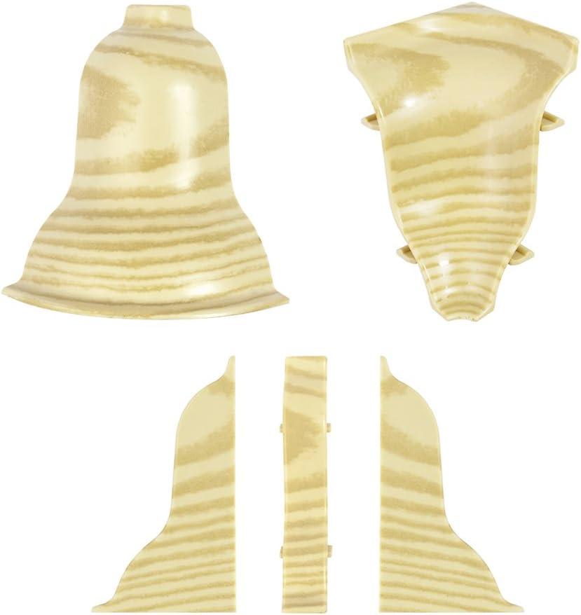1 x Au/ßenecke Kiefer gebliecht 52mm zum Dekor Lamiat Dekore Laminatleisten Fussleisten aus Kunststoff PVC DQ-PP