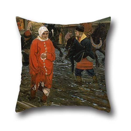 20 X 20 Inches / 50 By 50 Cm Oil Painting Andrei Ryabushkin - Seventeenth-Century Moscow Street On A Public Holiday Throw Pillow Case,2 Sides Is Fit For Study Room,shop,festival,car,car (Street Fighter Halloween Skins)