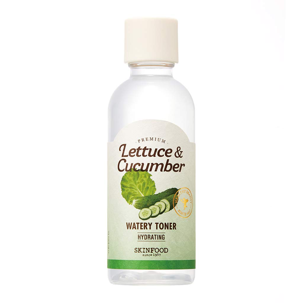SKIN FOOD Premium Lettuce & Cucumber Watery Toner 180ml (6.08 oz) - Skin Cooling & Soothing Ultra Hydrating Facial Toner, Redness Relief, After Sun Care