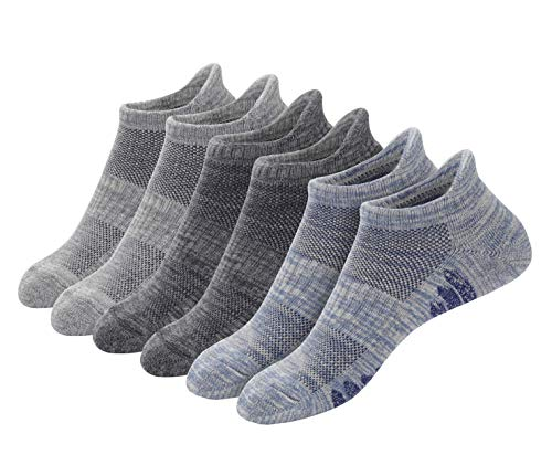 u&i Men's Performance Cushion Cotton Low Cut Ankle Athletic Socks with Tab (6-Pack/12-Pack)