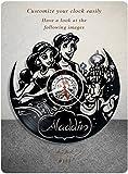 Aladdin vinyl clock, vinyl wall clock, vinyl record clock walt disney animated classics ron clements john musker wall art home decor kids gift 183 - (a2)
