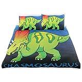 senya Ultra Soft 3pc Duvet Cover Set Dinosaur Chasmosaurus Printed Luxury Lightweight Microfiber Velvet Warm Cozy Bedding Set for Kids Boys Girls